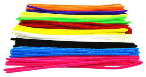 Colorful Chenille Materials Wool Stick 100PCS - multicolor
