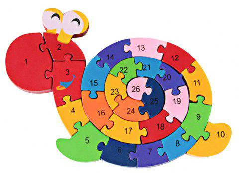 Wooden Winding Animals Cognition Jigsaw Puzzle Toy - multicolor A