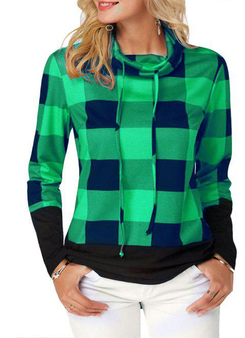 Women'S Casual Contrast Color High Collar Plaid Long Sleeve Pullover - GREEN 4XL