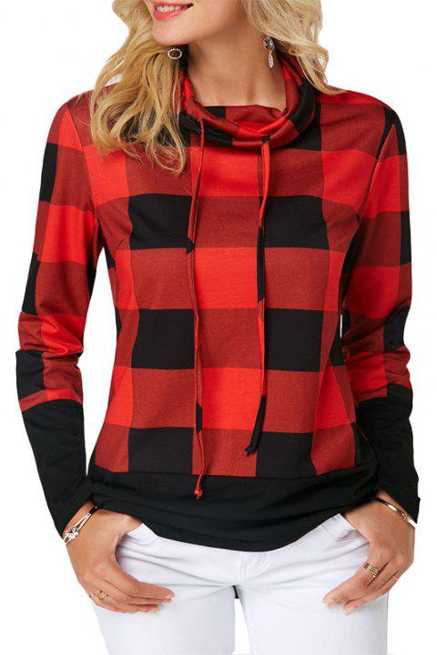 Women'S Casual Contrast Color High Collar Plaid Long Sleeve Pullover - RED M