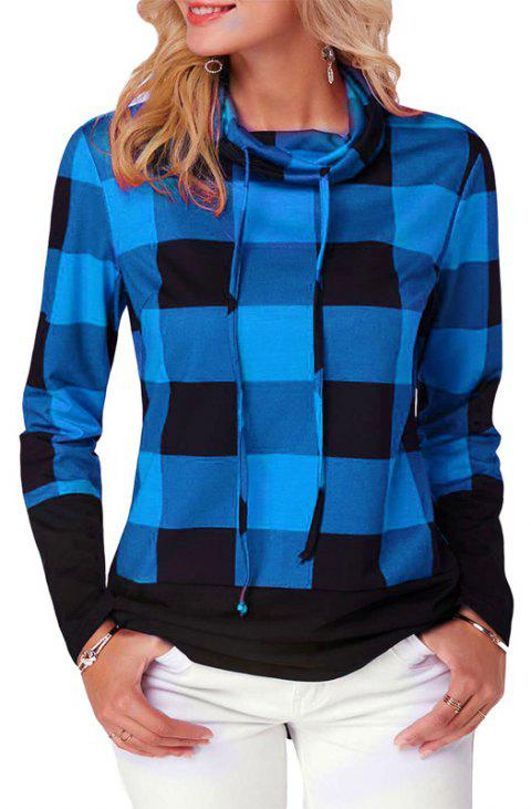 Women'S Casual Contrast Color High Collar Plaid Long Sleeve Pullover - BLUE 5XL