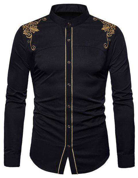 Men's Fashion Court Embroidered Top Long Sleeve Casual Slim Shirt - BLACK XL