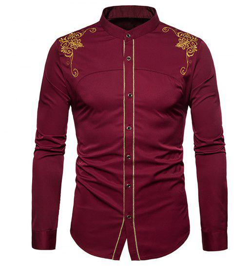 Men's Fashion Court Embroidered Top Long Sleeve Casual Slim Shirt - RED WINE XL