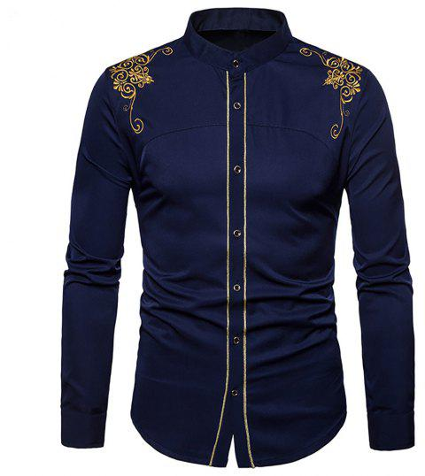 Men's Fashion Court Embroidered Top Long Sleeve Casual Slim Shirt - CADETBLUE M