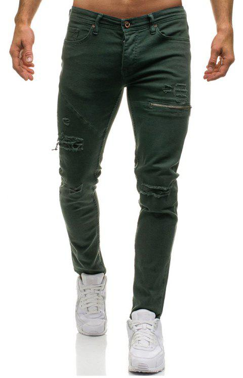 Zipper Decoration Hole Jeans Men's Casual Trousers - ARMY GREEN 2XL
