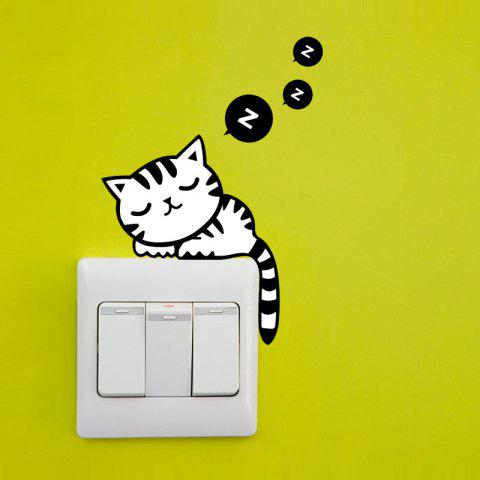 Lovely Cat Pattern Light Switch Sticker For Bedroom Decoration - BLACK
