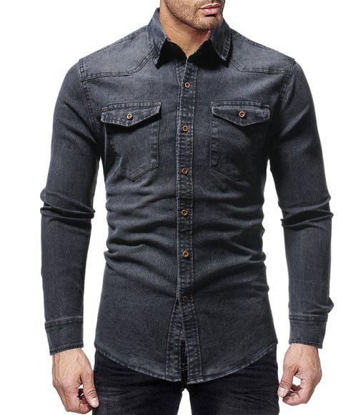 Winter New Lined Plaid Men's Casual Slim Long-Sleeved Shirt - GRAY XL