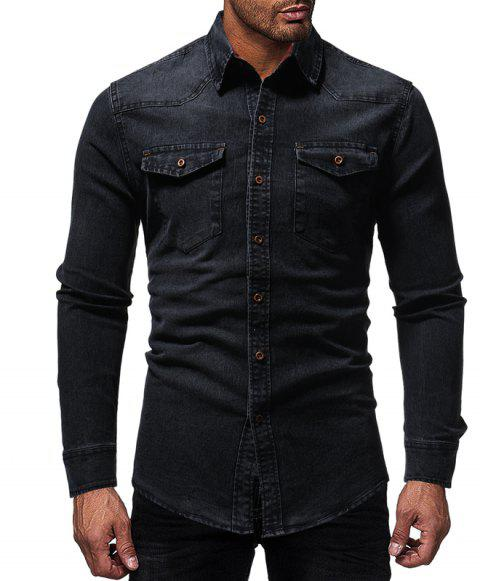 Winter New Lined Plaid Men's Casual Slim Long-Sleeved Shirt - BLACK 2XL