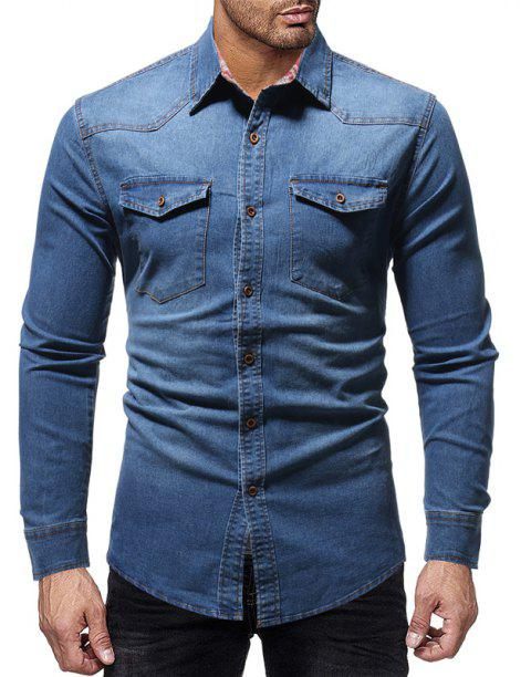 Winter New Lined Plaid Men's Casual Slim Long-Sleeved Shirt - BLUE M