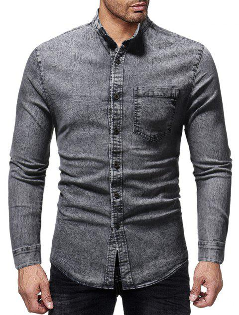 Winter New Men's Casual Slim Collar Long-Sleeved Washed Shirt - GRAY 3XL