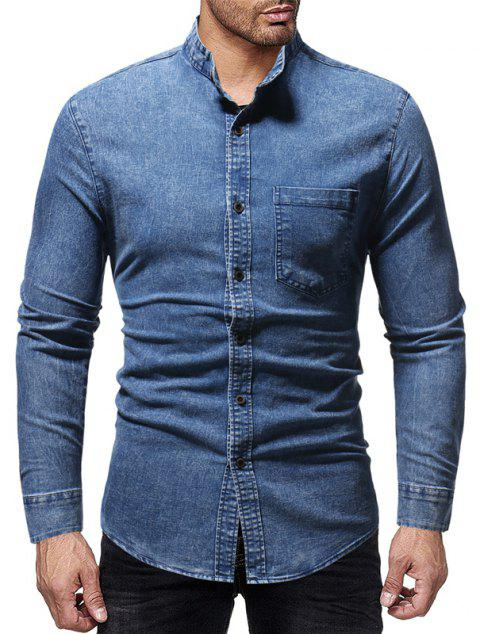 Winter New Men's Casual Slim Collar Long-Sleeved Washed Shirt - BLUE 3XL