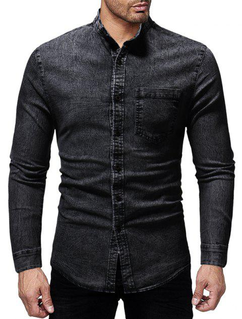 Winter New Men's Casual Slim Collar Long-Sleeved Washed Shirt - BLACK XL