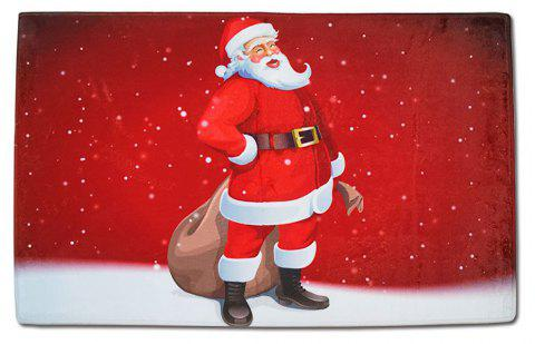 Christmas Decoration Kitchen Bathroom Absorbent Non-Slip Square Floor Mat - RED 1PC