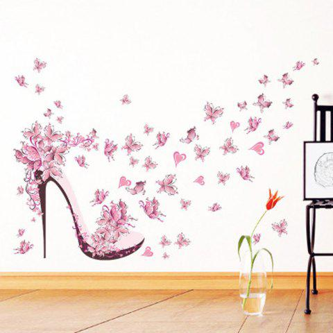 Pink Butterfly Heels Background Waterproof Wall Stickers Can Be Removed - multicolor A 45*60CM