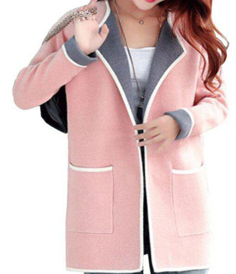 Long Cardigan Sweater for Autumn Wear - PINK L