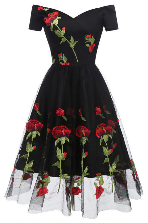 Evening Party Embroidered Rose Bud Silk Gauze Dress - BLACK S
