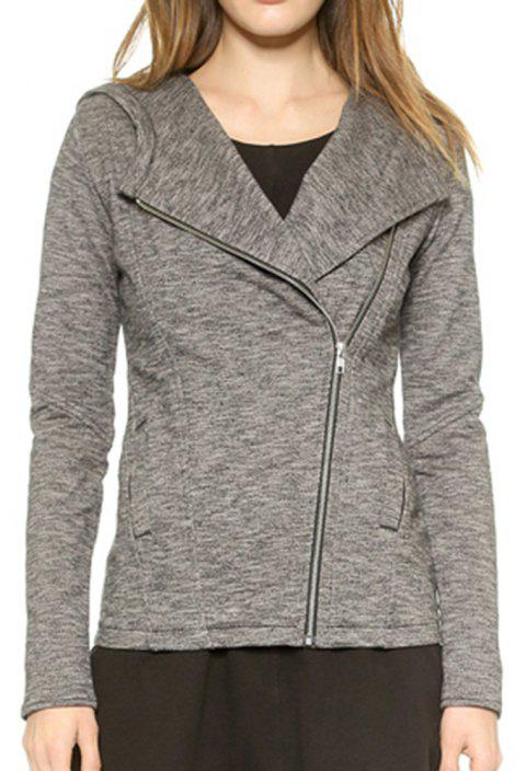 HAODUOYI Women's Diagonal Zip Hooded Slim Pocket Jacket Female Jacket Grey - SMOKEY GRAY S