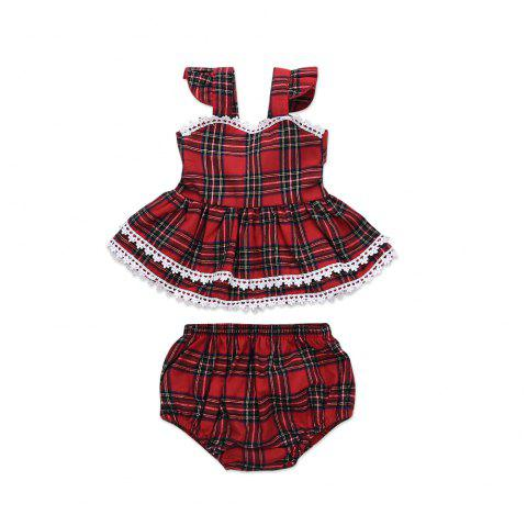 Christmas Lattice Dress High Quality Girl British Style Sling Skirt - RED 1XL