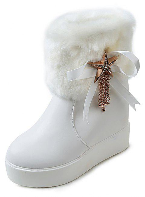 Cotton Boots Muffins Thick Bottom Boots High Boots Round Headwaterproof Table - WHITE EU 39