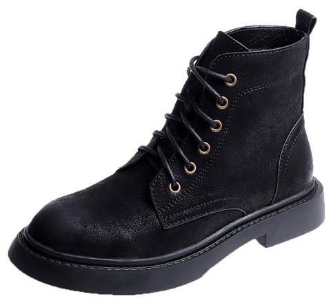 Lace Up Martin Boots Fashion Boots Autumn Winter Boots Handsome Knights Boots - BLACK EU 38