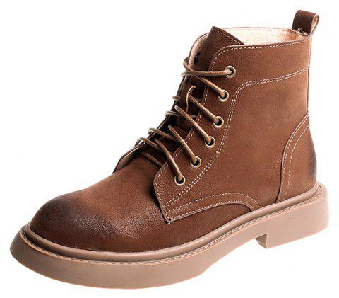 Lace Up Martin Boots Fashion Boots Autumn Winter Boots Handsome Knights Boots - CAMEL BROWN EU 38