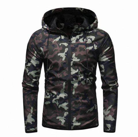 Men's Camouflage Fashion Casual Jacket Hooded Jacket - ARMY GREEN L