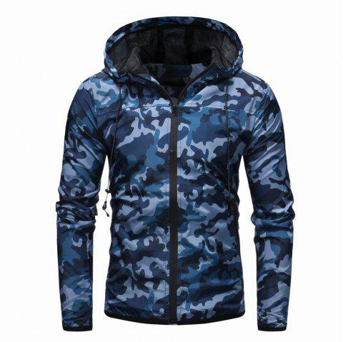 Fashion Men's Camouflage Casual Wild Hooded Jacket - BLUE 2XL