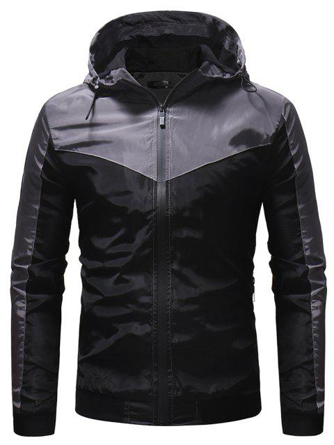 Men's Mountaineering Jacket Outdoor Solid Color Casual Hooded Jacket - BLACK L