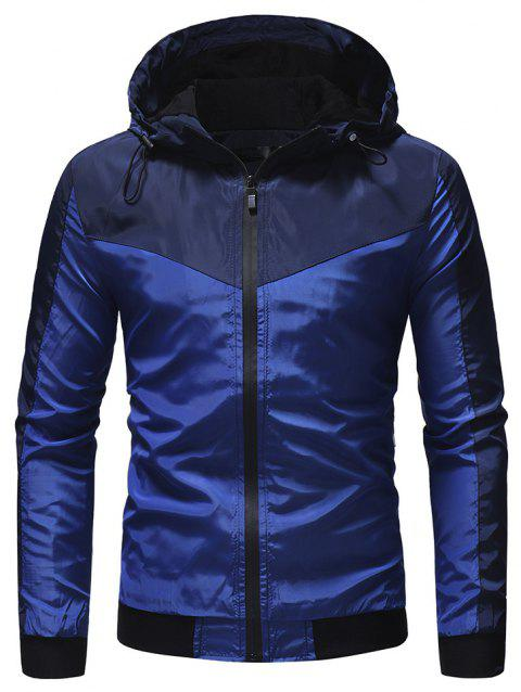 Men's Mountaineering Jacket Outdoor Solid Color Casual Hooded Jacket - BLUE L