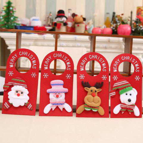 4PCS Santa Claus Elk Door Ornaments Cartoon Cloth Door Hanging - multicolor 4PCS