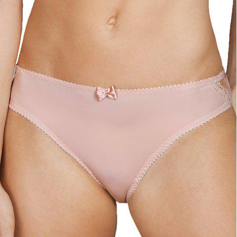 MISSOMO Perspective Lace Stitching Butterfly Triangle Panties Pink - LIGHT PINK L