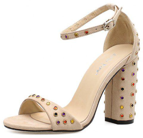 d8b7efaf1 Women s Square Heel Sandals Japanese Party High Heels with Rivets - APRICOT  EU 35