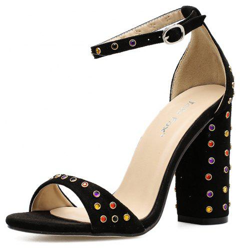 b272af0eca4 Women s Square Heel Sandals Japanese Party High Heels with Rivets - BLACK  EU 38