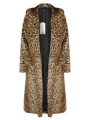 5577603484d43 HAODUOYI Women S Main Leopard Fur Coat Double Pocket Long Female Jacket  Leopard