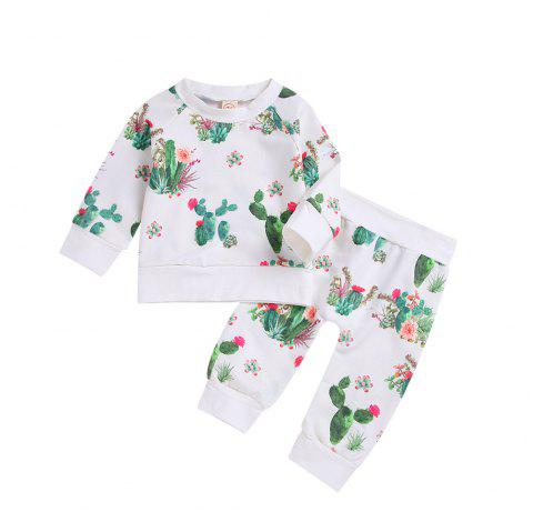 white Cactus Long Sleeved Shirt and Trousers Two Piece - WHITE M