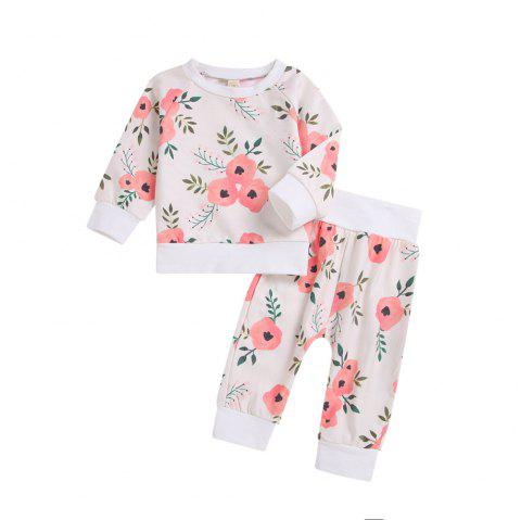 Overseas Hot White Long Sleeved Jacket Plus Long Sleeved Flower Pants Two Piece - WHITE L