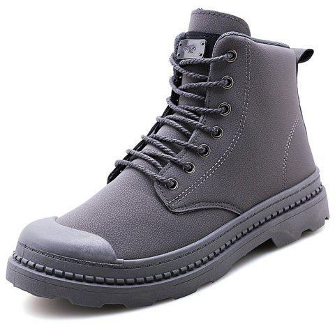 Men Winter High-Cut Fashion Solid Lace Up Boots - GRAY EU 40