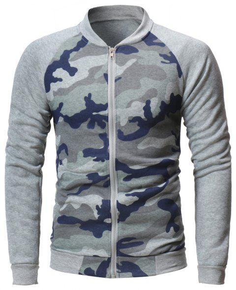 65b41001cffa2 Men's Baseball Jacket Camouflage Raglan Long Sleeve Zipper Up Sport Jacket  - LIGHT GRAY XL