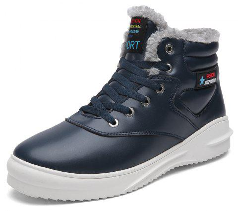 Men Casual Fashion Outdoor Winter Leather Suede Boots - BLUE EU 39