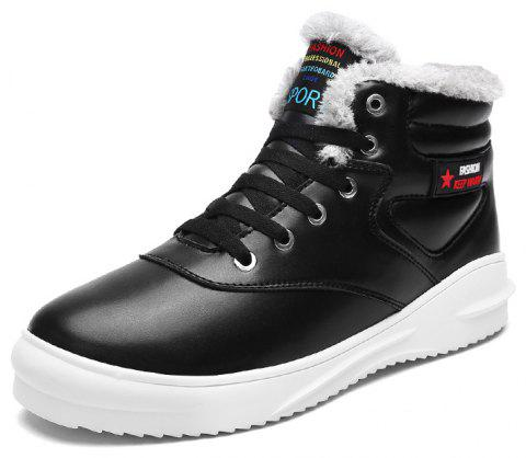 Men Casual Fashion Outdoor Winter Leather Suede Boots - BLACK EU 45