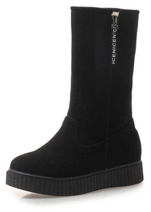 Round Head Flat Fashion Boots - BLACK EU 39