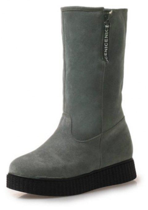 Round Head Flat Fashion Boots - GRAY EU 34