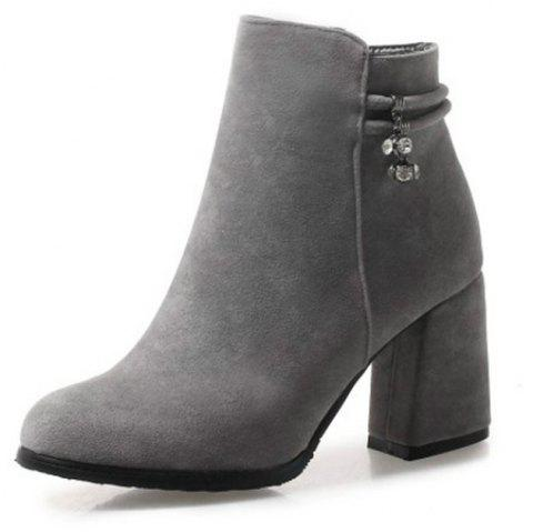 Round Head with High Heel Sexy Women'S Boots - GRAY EU 36
