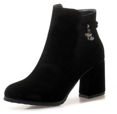 Round Head with High Heel Sexy Women'S Boots - BLACK EU 35