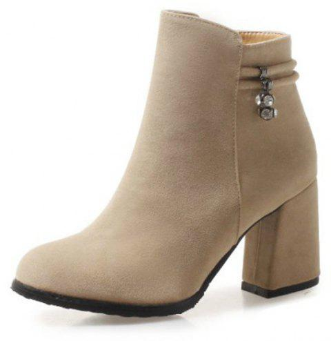 Round Head with High Heel Sexy Women'S Boots - BLANCHED ALMOND EU 34
