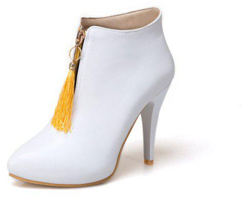 Slim High-Heeled Rounded Top Tasseled Ankle Boots with Fashionable Zippers - MILK WHITE EU 35