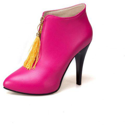 Slim High-Heeled Rounded Top Tasseled Ankle Boots with Fashionable Zippers - ROSE RED EU 42