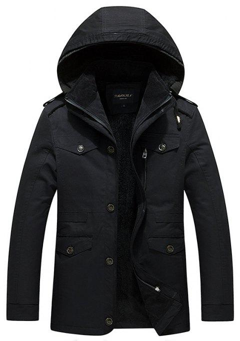 2018 Men's WinterSingle Breasted Lapel New Cotton Shown Medium and Long Jackets - BLACK 3XL