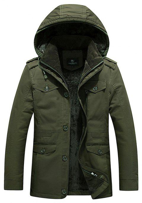 2018 Men's WinterSingle Breasted Lapel New Cotton Shown Medium and Long Jackets - ARMY GREEN 5XL