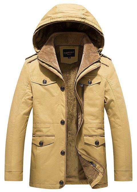 2018 Men's WinterSingle Breasted Lapel New Cotton Shown Medium and Long Jackets - GOLDEN BROWN 4XL
